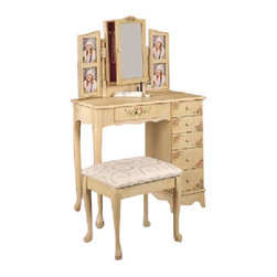 """Coaster - 2-Piece Vanity Set (Ivory) By Coaster - This is a brand new wheat finish hand painted Queen Anne style vanity table and matching stool/bench set with photo frame and hanging jewelry storage area. Practical in use and elegant in design, this item comes with sufficient storage area including six drawers. Item is designed to perfection and crafted to be practical and stylish in decor for your home furniture. Item may require simple assembly. Dimensions Measure: Vanity Table - 32""""W x 16""""D x 50 1/2""""H, Stool - 18""""W x 14-1/2""""D x 17""""H."""