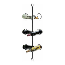 Renovators Supply - Wine Racks Black Wrought Iron Hanging Wine Rack  38 H x 8 5/8 W - Hanging Wine Rack. This iron wine rack is 38 in. high x 8 5/8 at its widest point and holds up to 6 bottles of wine. Space-conscientious small wine rack makes a great gift!
