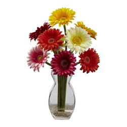 """Nearly Natural - Nearly Natural Gerber Daisy with Vase Arrangement in Assorted - Ok, maybe plants can't talk, but if this beautiful daisy arrangement could, it would brighten your day with its warm, bubbly personality. Just look at those sunny blooms bursting with color. There's no way anyone can look at this and not smile. Comes complete with a glass vase and faux water. Makes a great """"cheer you up"""" gift - either for yourself or friends!"""