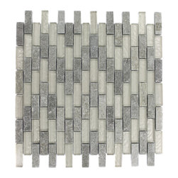 """GlassTileStore - Geological Brick Green Quartz Slate & White Gold Glass Tiles - Geological Brick Green Quartz + White Gold Tiles 1/2 x 2          This striking brick design has a combination of green quartz slate and white gold glass. These tiles are mesh mounted and will bring a sleek and contemporary clean design to any room.         Chip Size: 1/2"""" x 2""""   Color: Green Quartz and White Gold   Material: Slate and Glass   Finish: Frosted and Polished   Sold by the Sheet - each sheet measures 12""""x12x (1 sq. ft.)   Thickness: 8mm            - Glass Tile -"""