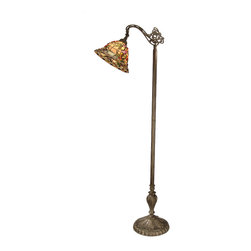 Dale Tiffany - Dale Tiffany TF50181 Bochner Downbridge Floor Lamp - Shade: Hand Rolled Art Glass