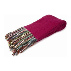 Belle & June - Hot Pink Mohair Throw - Let it all hang out with this eclectic throw that is just as cool as it is cozy. Made from recycled yarn in angora fashion, this fine fabric with its vibrant, multicolored fringe will fit into your home décor while making a bold statement with bohemian style.