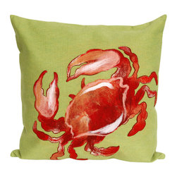 "Trans-Ocean - Crab Red Pillow - 20"" SQ - The highly detailed painterly effect is achieved by Liora Mannes patented Lamontage process which combines hand crafted art with cutting edge technology.These pillows are made with 100% polyester microfiber for an extra soft hand, and a 100% Polyester Insert.Liora Manne's pillows are suitable for Indoors or Outdoors, are antimicrobial, have a removable cover with a zipper closure for easy-care, and are handwashable."
