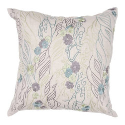 """Jaipur Rugs - Jaipur Rugs Contemporary Textural Pattern Flax Cool Aqua Chambrey // 18""""X18"""" - Soft shades of neutral and dusty pastel are the cornerstone of this whimsical feminine range of pillows made from poly dupione. The collection features imagery of butterflies, florals, and birds."""