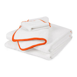 Orange Piped Bath Towel - These bath linens have the perfect amount of tangerine to bring into a powder room without going overboard with color.