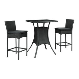 LexMod - Cerveza Pub Table and Two Chair Set in Black Rattan with Black Cushions - Whatever your taste, the suds are best sipped with a friend. Take two from the fridge and venture outside to some crisp air and happy laughter. The Cerveza set is small enough for any patio or backyard space, but amiably modern to help deliver good times.