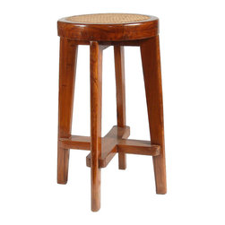 PIERRE JEANNERET Caned Teak Bar Stool from Chandigarh, India - Ref: CH2335