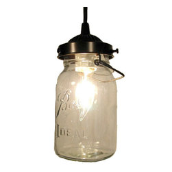n/a - Mason Jar PENDANT Light, Oil Rubbed Bronze - A true vintage Mason jar with all its history and 'age' marks is handcrafted into a beautiful pendant for kitchen or bath. Featuring both the original wire-bail and raised lettering on each jar.