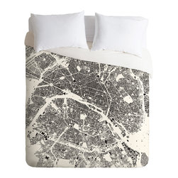 DENY Designs - DENY Designs CityFabric Inc Paris White Duvet Cover - Lightweight - Turn your basic, boring down comforter into the super stylish focal point of your bedroom. Our Lightweight Duvet is made from an ultra soft, lightweight woven polyester, ivory-colored top with a 100% polyester, ivory-colored bottom. They include a hidden zipper with interior corner ties to secure your comforter. It is comfy, fade-resistant, machine washable and custom printed for each and every customer. If you're looking for a heavier duvet option, be sure to check out our Luxe Duvets!