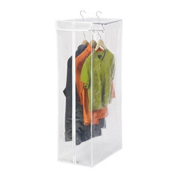 "Short Garment Bag- Peva - Honey-Can-Do SFT-01415 Short Hanging Storage Closet, White / Clear. Protect your wardrobe investment with this hanging storage closet. The breathable material surrounds your wardrobe to prevent moths, musty odors, and dust or debris from damaging your clothing. Full-view, transparent front with zipper closure allows you to easily see the contents. Measuring a sizable 42"" high x 12"" wide, you can easily store your suits, jackets, shirts, and other shorter garments inside. A heavy duty metal frame gives strength and support to heavier items. Setup couldn't be easier, just hang it from any standard closet rod and it's ready to use."