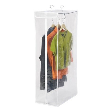 """Short Garment Bag- Peva - Honey-Can-Do SFT-01415 Short Hanging Storage Closet, White / Clear. Protect your wardrobe investment with this hanging storage closet. The breathable material surrounds your wardrobe to prevent moths, musty odors, and dust or debris from damaging your clothing. Full-view, transparent front with zipper closure allows you to easily see the contents. Measuring a sizable 42"""" high x 12"""" wide, you can easily store your suits, jackets, shirts, and other shorter garments inside. A heavy duty metal frame gives strength and support to heavier items. Setup couldn't be easier, just hang it from any standard closet rod and it's ready to use."""