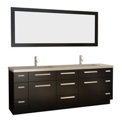 """Design Elements - Design Elements J84-DS Vanity in Espresso - The Moscony 84"""" double-sink vanity is uniquely constructed of solid hardwood, simple lines, and a dark espresso finish, complemented by a beautiful quartz countertop and rectangular under-mount sinks. Being twice as hard as granite, harder than steel and titanium, and possessing a hardness just below that of gemstones, quartz is an ideal material for countertops. It's hygienic, because bacteria can't penetrate the surface, and practically maintenance-free since no sealing, polishing, or reconditioning is required. Moreover, quartz doesn't stain and is more heat-resistant than other countertop materials.This modern vanity is well equipped with six pullout drawers and five soft-closing cabinet doors (across the middle of the vanity). A framed matching espresso mirror is also included."""