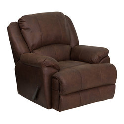 Flash Furniture - Flash Furniture OverStuffed Bomber Jacket Microfiber Lever Rocker Recliner - This motion recliner will provide you comfort with the added bonus of the rocking feature. The rocker recliner can not only be used in the living room, but makes for a great nursery chair. The gentle back and forth rocking is soothing to both babies and adults. This recliner features thick cushion padding to relax while watching a movie, reading a good book or doing nothing! The durable microfiber upholstery is not only soft and adds a clean appearance, but is easy to clean. [MEN-DSC01035-BOMBER-GG]