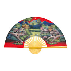 "Oriental Furniture - Spring Harvest Fan - 60"" - This hand-crafted Thai wall fan is made from split bamboo and sateen fabric decorated with traditional acrylic art, the hand-painted Spring Harvest design features a vermillion foreground and background surrounding a riverside village rendered in pale lavender, green, and ochre. Intricate details include the huts, lily pads and river boat, with soft mountains in the background, that will add a touch of the Far East to your home or office."