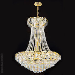 Worldwide Lighting Empire Chandelier W83034G26 - Worldwide Lighting Empire Collection 15 light Gold Finish and Clear Crystal Chandelier