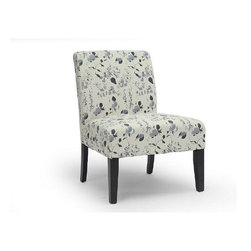 Wholesale Interiors - Phaedra Floral Watercolor Modern Slipper Chair - A soft-spoken portrait of the ever-popular petal. Our Phaedra Floral Watercolor modern slipper chair whispers, rather than shouts, its floral theme with gentle light-and-dark gray flourishes in a watercolor style. Contoured black legs offer a subdued contrast. With looks this inviting, you might stare instead of sit down. Comfort is assured via foam cushioning and linen fabric. Floral finesse at a discount price point.