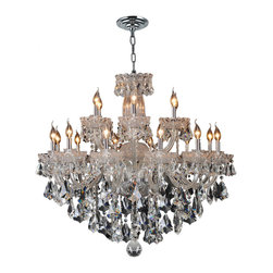 """Worldwide Lighting - Olde World 18 Light Chrome Finish Crystal Chandelier 39"""" x 34"""" Large Two 2 Tier - This stunning 18-light crystal chandelier only uses the best quality material and workmanship ensuring a beautiful heirloom quality piece. Featuring a radiant chrome finish and finely cut premium grade double cut crystals with a lead content of 30%, this elegant chandelier will give any room sparkle and glamour. Worldwide Lighting Corporation is a privately owned manufacturer of high quality crystal chandeliers, pendants, surface mounts, sconces and custom decorative lighting products for the residential, hospitality and commercial building markets. Our high quality crystals meet all standards of perfection, possessing lead oxide of 30% that is above industry standards and can be seen in prestigious homes, hotels, restaurants, casinos, and churches across the country. Our mission is to enhance your lighting needs with exceptional quality fixtures at a reasonable price."""