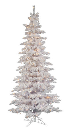 """Vickerman - Flocked White Slim Dura-L 400CL (7.5' x 43"""") - 7.5' Flocked White Slim Tree 1019 PVC tips and Snow 400 Dura-Lit Clear Lights with on/off switch step. metal stand Dura-lit Lights utilize microchips in each socket so bulbs stay lit even when some bulbs are broken or missing."""