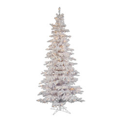 "Vickerman - Flocked White Slim Dura-L 400CL (7.5' x 43"") - 7.5' Flocked White Slim Tree 1019 PVC tips and Snow 400 Dura-Lit Clear Lights with on/off switch step. metal stand Dura-lit Lights utilize microchips in each socket so bulbs stay lit even when some bulbs are broken or missing."