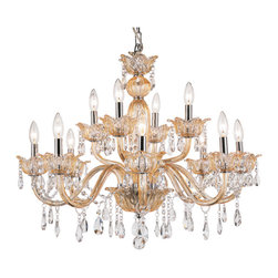Trans Globe - Trans Globe 12 Light Chandelier in Champagne - Showcasing a candelabra-inspired design and beautiful crystal drops, this elegant chandelier casts a chic light over your foyer or dining room decor.