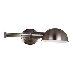 Kenroy - Kenroy KR-21010-ANI Frye Transitional Swing Arm Wall Lamp - Antique Nickel - A clean, rounded shade, Antique Nickel and Oil Rubbed Bronze finishes, and task ready swing arm, make Frye a must for the bedroom or office.  Swing the arm over to read, leaving added space on the night stand and an undisturbed sleeping partner.  *Cord Cover Included *Can Be Hard Wired or Cord/Plug Mounted
