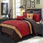 Royal Tradition - R-T 8pc Luxury Comforter Set- Atlantis- Red - The Atlantis 8-piece comforter set offers a modern, tailored look that creates an aura of calmness in any bedroom. The bold color blocking in red, chocolate and gold give a strong design impact. This set includes all the pieces you need for a flawlessly decorated bed.  100% Polyester/ Machine Washable