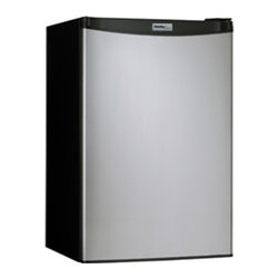 "Danby - 4.4 Cu Ft Compact Refrigerator - Black with Spotless Steel Door - 4.4 cu. ft. (126 L) capacity compact fridge, Energy star compliant, Environmentally friendly R600a refrigerant, Semi-automatic defrost, Full width freezer section 2 full width and 1 - 1/2 width adjustable glass shelves, Integrated door shelving with tall bottle storage, CanStor beverage dispensing system, Mechanical thermostat, Integrated door handle, Reversible door hinge, Smooth back design, unit dimensions: 20 11/16"" W x 20 14/16"" D x 32 11/16"" H"