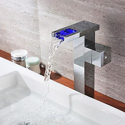 LED Faucets - Chrome Finish Single Handle Color Changing LED Waterfall Bathroom Sink Faucet