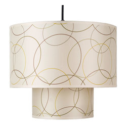 Lights Up! - Deco Medium Pendant Lamp - Overlapping circles create a chic and playful pattern that's perfect for a contemporary home. Two silk drum shades cast a soft light throughout any room. Add it to your dining room for a pop of personality.