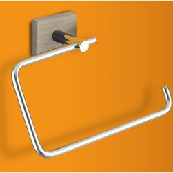 Gedy - Chrome Towel Ring with Washed Oak Wood Wall Mount - Need a towel hanger? This one is a contemporary & modern towel hanger that will fit perfectly into your contemporary bathroom. Manufactured in and imported from Italy by Gedy, this high-end towel loop is built with high quality stainless steel and wood and finished in washed oak. Decorative towel loop, made in high quality stainless steel and wood. Towel hanger finished in washed oak. Manufactured in and imported from Italy by Gedy. Part of the Gedy Minnesota Wood collection.