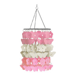 "WallPops - Butterfly Chandelier - This precious pink and white chandelier with butterflies and flowers adds an adorable accessory to a little girls room. Shimmering tiers of pink reflect the light of the room and bring a dallop of delightful style. The chandelier comes with one 8"" x 21.75"" piece and does not include the lightbulb or cord set. Imported."
