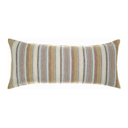 "Treehouse Linen Double Boudoir Pillow - 15"" x 35"" - Suggest both luxury and life with the earthy stripes of the Treehouse Linen Double Boudoir Pillow, a long, plump rectangular cushion that juxtaposes broad bands and narrow stripes of warm, almost autumnal colors including a muted stormy blue.  Made from pure linen, this decorative pillow brings a cozy gentility to your bedding with its traditional stripes and updated, suave color palette."