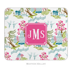 Boatman Geller Personalized Mouse Pad, Chinoiserie Spring Preset - This is girly and fun, but it also ties into a color scheme featuring blue, aqua and green. I love the unexpected pattern.