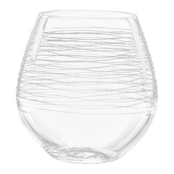 Qualia - Graffiti Stemless Red Wine Glasses, Set of 4 - Create a sleek, polished look in your kitchen with these unique Graffiti Stemless Red Wine Glasses. Wide and stemless, these glasses feature clear glass with fiber-like interior etchings. Display them in an open cabinet for a simple and striking look. Dishwasher safe.