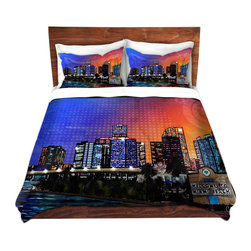 DiaNoche Designs - Duvet Cover Microfiber by Corina Bakke - Miami Beach Skyline - Super lightweight and extremely soft Premium Microfiber Duvet Cover in sizes Twin, Queen, King.  This duvet is designed to wash upon arrival for maximum softness.   Each duvet starts by looming the fabric and cutting to the size ordered.  The Image is printed and your Duvet Cover is meticulously sewn together with ties in each corner and a hidden zip closure.  All in the USA!!  Poly top with a Cotton Poly underside.  Dye Sublimation printing permanently adheres the ink to the material for long life and durability. Printed top, cream colored bottom, Machine Washable, Product may vary slightly from image.