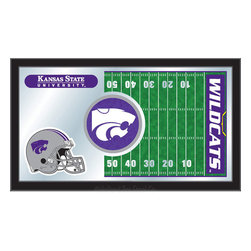 "Holland Bar Stool - Holland Bar Stool Kansas State Football Mirror - Kansas State Football Mirror belongs to College Collection by Holland Bar Stool The perfect way to show your school pride, our Football Mirror displays your school's symbols with a style that fits any setting.  With it's simple but elegant design, colors burst through the 1/8"" thick glass and are highlighted by the mirrored accents.  Framed with a black, 1 1/4 wrapped wood frame with saw tooth hangers, this 15""(H) x 26""(W) mirror is ideal for your office, garage, or any room of the house.  Whether purchasing as a gift for a recent grad, sports superfan, or for yourself, you can take satisfaction knowing you're buying a mirror that is proudly Made in the USA by Holland Bar Stool Company, Holland, MI.   Mirror (1)"