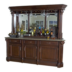 American Heritage - American Heritage Bella Back Bar w/ Hutch in Mojave - The grand style and unique design of the Bella Back Bar and Hutch creates a big impact in your homes décor. The rich Mohave finish compliments the granite bar top and Queen Anne style hardware. This stately look is continued throughout with beveled mirrors, slide out wine storage and lighted stemware holders. This remarkable piece is perfect for the avid entertainers. - 620080MJ-S.  Product features: Sandstone hardware; Slide out wine rack; Lighted stemware racks; Granite top; Beveled mirror's; 3 Drawers; Custom select hardwood and maple veneer. Product includes: Bar Base (1); Hutch (1); Granite (1). Back Bar w/ Hutch in Mojave belongs to Bella Collection by American Heritage.