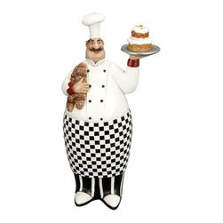 "BZBZ69720 - 12"" French Fat Chef with Serving Tray and Bread - 12"" French fat chef with serving tray and bread. Great collectable Item for your home and restaurant decor. Made from cold cast resin composite material. Dimension: 12 inch H x 6 inch wide."