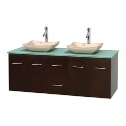 """Wyndham Collection - Centra 60"""" Espresso Double Vanity, Green Glass Top, Avalon Ivory Marble Sinks - Simplicity and elegance combine in the perfect lines of the Centra vanity by the Wyndham Collection. If cutting-edge contemporary design is your style then the Centra vanity is for you - modern, chic and built to last a lifetime. Available with green glass, pure white man-made stone, ivory marble or white carrera marble counters, with stunning vessel or undermount sink(s) and matching mirror(s). Featuring soft close door hinges, drawer glides, and meticulously finished with brushed chrome hardware. The attention to detail on this beautiful vanity is second to none."""