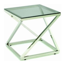 TFG Furniture - Gramercy End Table - TFG Furniture Gramercy End Table. Polished stainless steel frame. Coated glass shelf. Perfect for use as an end table or bedside table.