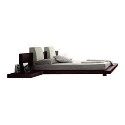 Tokyo Floating Platform Bed, White Backrest, Queen, Headboard Without Lights - Contemporary Platform Bed with a Japanese flair - Tokyo Japanese bedroom furniture by Haiku Designs. This Version has no Headboard Lights. Does Not come with Nightstands