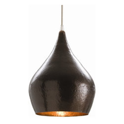 "Arteriors - Mario Pendant - Modern, sculptural and organic, this fixture will add a burst of ""wow"" to your room. The iron shade is formed into a gourd shape and hammered for extra texture. And the light coming from the bottom gleams in warm, earthy bronze."