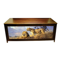 Kelseys Collection - Blanket chest - African Evening - The African Evening LODGEBOXsolid pine blanket chest or hope chest with African themed art by Donald Grant of a Lion, giclee canvas printed on three sides. Also functions as a bench with a lid strengthened with 3 strakes.  Measures 48x19x20.  A superior lid connection is achieved with 3 L shaped hinges..  Easy to assemble in 45 minutes, weighs 40 pounds. Two piston dampers soften the lid closing. Its pine frame and top have an oil stained finish. Giclee* Canvas Art prints are stretched and glued on three  panels, then enhanced with a light glaze to protect and embellish the crispness of the art.  The art is secured under Exclusive Licenses with world famous and recognized artists. Perfect size for fireside use for seating, blankets,  collectibles, fly rods, soccer bags,  kids junk,  paraphernalia; just a multitude of uses.  Dimensions  48  by 18  by 19  Weight  44 #  Some assembly required, packaged for drop shipment, EDI capable, shipping ctn 52  by 24  by 7 .  Shipping weight 45# Easy to assemble in less than 20 minutes.