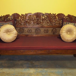 Gado Gado Gallery Inspiration - Indonesian carved bench hand crafted from reclaimed teak wood with cushion. Gado Gado Gallery