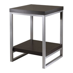 Winsome - Jared End Table, Enamel Steel Tube - Jared line of contemporary occasional tables is made with pewter color enamel finished metal tube frames and black wood tops.