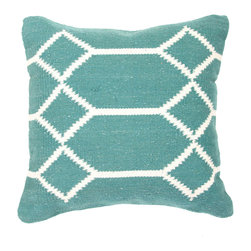 """Jaipur Rugs - Gray/Ivory color cotton cad04 pillow poly fill pillow 18""""X18"""" - Hand woven from 100% cotton the Cadiz pillow collection offers a range of open geometrics in bold color combinations. The collection coordinates with Jaipur Maroc and Urban bungalow flat weave rugs."""
