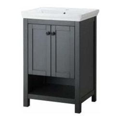 Foremost - Foremost Hanley 23½-Inch Vanity, Charcoal Gray Finish - Foremost Hanley 231/2 Inch Vanity in Charcoal Gray Finish