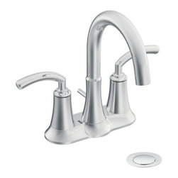 """Moen - Moen S6510 Chrome Icon Double Handle Centerset Bathroom Faucet with - Product Features:Metal faucet body construction ensures durability and reliability for the life of the faucetCovered under Moen s limited lifetime faucet warrantyPremier finishing process - finishes will resist corrosion and tarnishing through everyday useThe Icon Collection takes ordinary to extraordinary with its modern style; sure to perfectly fit any contemporary décorDouble handle operation - handles rest on 1/4 turn valvesADA compliant - complies with the standards set forth by the Americans with Disabilities Act for bathroom faucetsLow lead compliant - meeting federal and state regulations for lead contentWaterSense certified product - using at least 30% less water than standard 2.2 GPM faucets, while still meeting strict performance guide linesComplete with required valve systemDesigned for use with standard US plumbing connectionsAll hardware needed for mounting is included with faucetProduct Technologies / Benefits:WaterSense/Eco-Performance: To help make a difference on a global scale and further its role as industry leaders in eco-performance practices, Moen has established partnerships with a number of environmental organizations, including WaterSense. As of January 2009 all Moen bathroom faucets feature flow optimizing aerators; meaning they use less water, without sacrificing product performance.Product Specifications:Overall Height: 8-1/2"""" (measured from counter top to the highest part on faucet)Spout Height: 5-1/4"""" (measured from counter top to spout outlet)Spout Reach: 5-3/8"""" (measured from the center of faucet base to the center of spout outlet)Installation Type: Centerset (spout and valves/handles are combined on the same base unit)Number of Holes Required For Installation: 3Faucet C"""