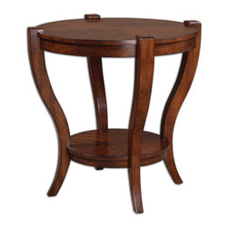 Uttermost - Bergman Round End Table - A perfect match! Well suited to your traditional home, this end table has a book-matched cherry veneer top that lends eye-catching interest. It's broad enough to support a grand-sized lamp, with a shelf below to stack your favorite reads.
