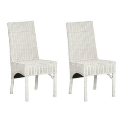 Safavieh - Safavieh Sommerset Side Chair in White, Set of 2 - White rattan isn't just for the porch these days. The updated, indoor Sommerset side chair dusts off an old-fashioned idea and gives it new life. Simple, elegant lines of the Parsons-style and the relaxed energy of rattan are woven to perfection. What's included: Side Chair (can only be purchased in sets of 2).